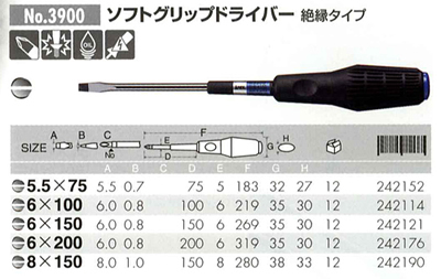 SOFT GRIP SCREW DRIVER INSULATION TYPE
